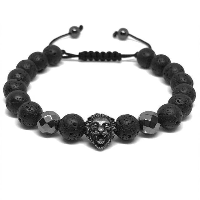 Dark Slate Gray Lion Head Lava Stone Hematite Braided Bracelet