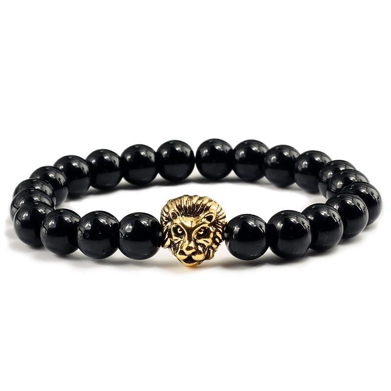 Black Black Lava Beaded Gold/Sliver Lion Bracelet