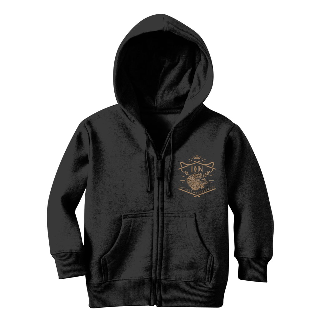 Dark Slate Gray Loyalty Over Royalty Classic Kids Zip Hoodie