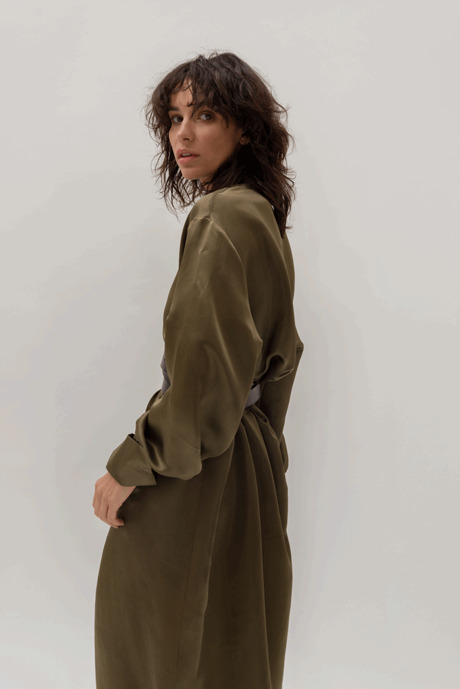 OVERSIZED KHAKI SILK DRESS