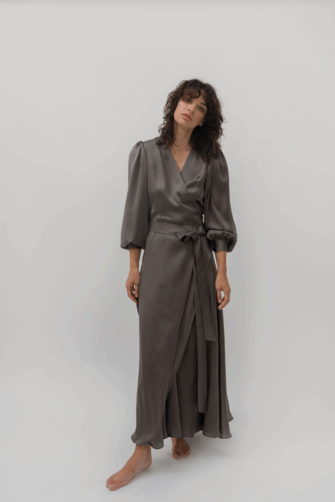 SATIN LA PERLA DRESS WITH PUFF SLEEVE