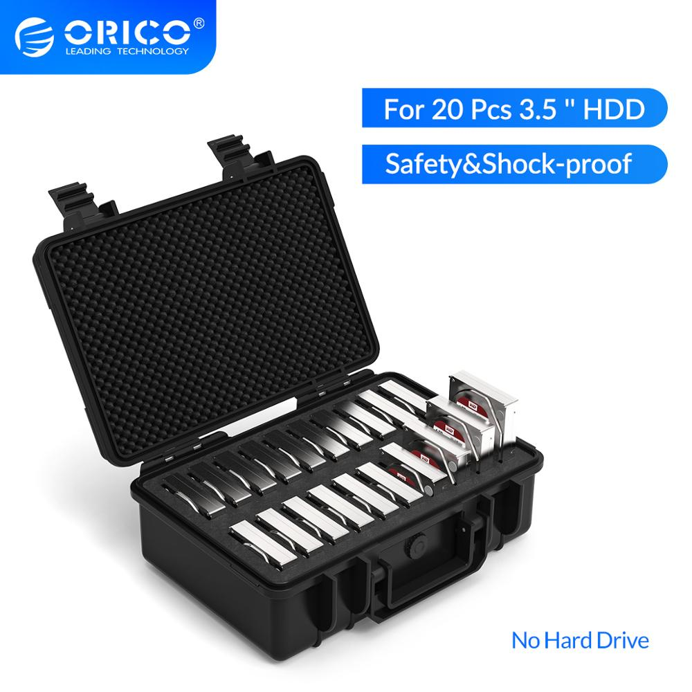 ORICO 3.5 inch 20-bay 3.5 inch HDD Hard Drive External Protection Storage Case Box Portable Multi Bay Water\Dust\Shock-proof - var deals