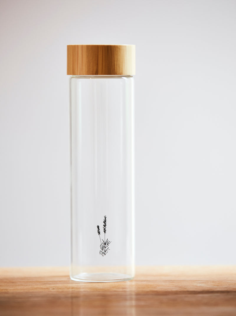 Reusable Glass Bottle with Bamboo Lid