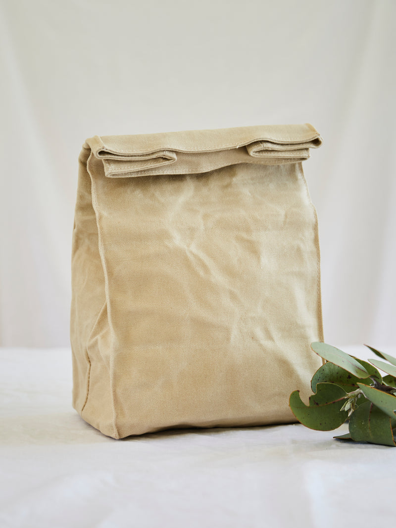 Insulated Waxed Cotton Canvas Lunch Bag