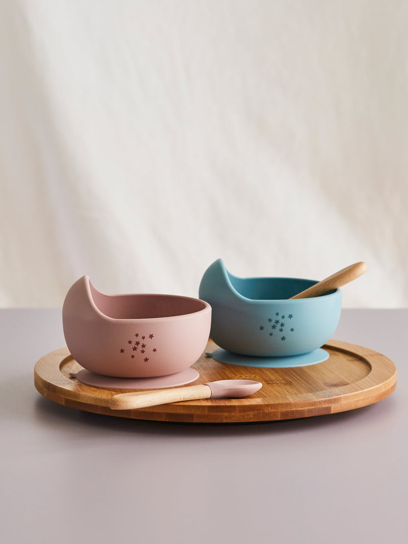 Silicone Baby Suction Bowls with Wooden Spoon