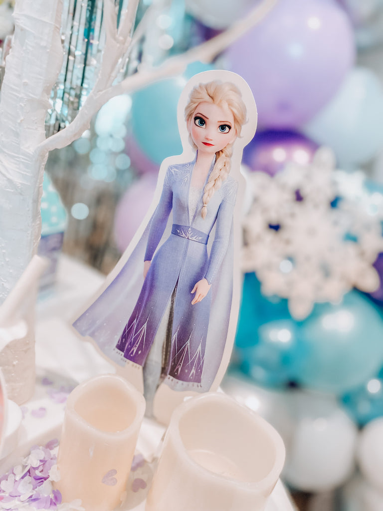 Disney Frozen themed birthday party dessert table and party decorations & supplies