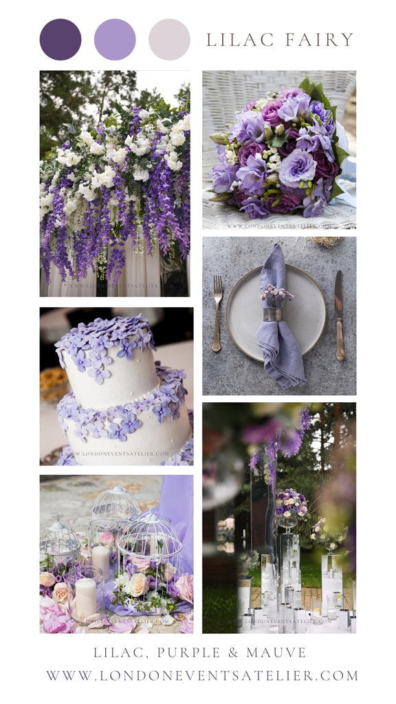 Purple, lilac and mauve wedding colour palette decorations and design for soft purple, lilac and mauve wedding flower arrangement, wedding cake, themed tableware and wedding backdrop.