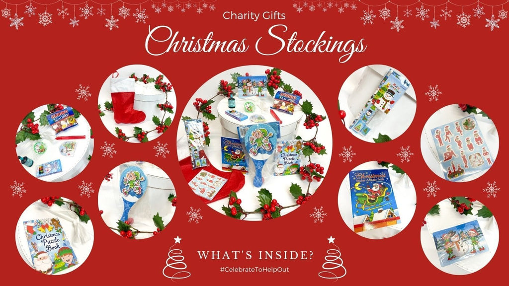 Christmas Charity Stocking for Winter Toy Appeal charity in London. Kids stocking fillers donated to charity helping refugee families and food banks in north London.
