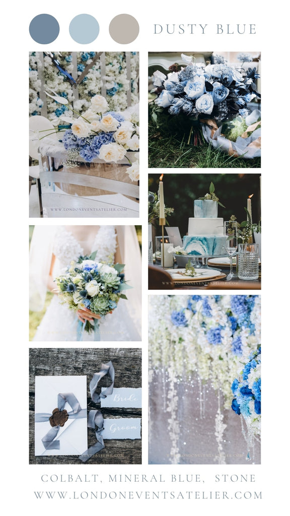 Dusty blue wedding colour palette with dusty blue wedding floral arrangement, blue wedding invitations and dusty blue wedding cake.