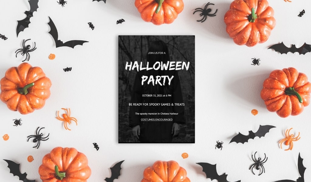 Halloween Party Invitations spooky black and white party invitations printable editable and ready to be personalised in Templett, ideal for kids and adult Halloween celebrations. Featuring Haunted House, Skull, The Grudge, Evil eye and BOO.