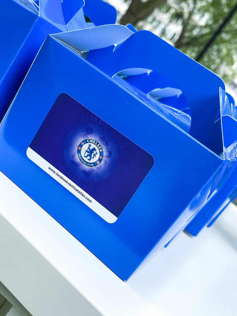 Chelsea Fc kids football themed birthday party bags. Kids football themed party bag fillers and favours.