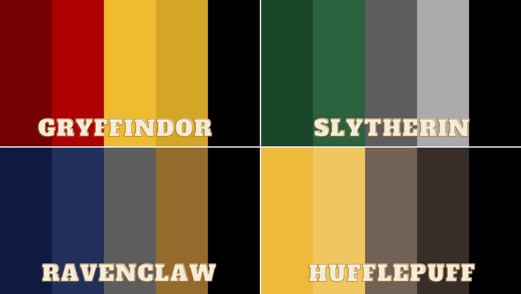 Harry Potter houses Gryffindor, Hufflepuff, Ravenclaw, Slytherin, house coat of arms house colours for themed Harry Potter birthday decoration and supplies.