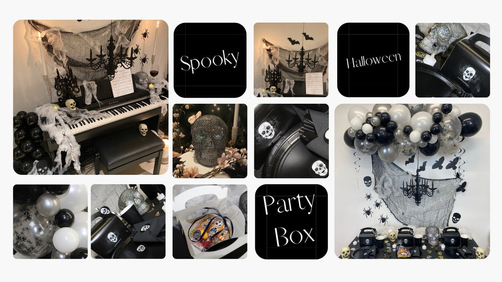 Halloween party box decorations to decorate your house with all halloween supplies delivered to your door. Halloween plates, cups, cutlery, spider web, spooky balloon garland, spiders, candles, skull, halloween party decorations.
