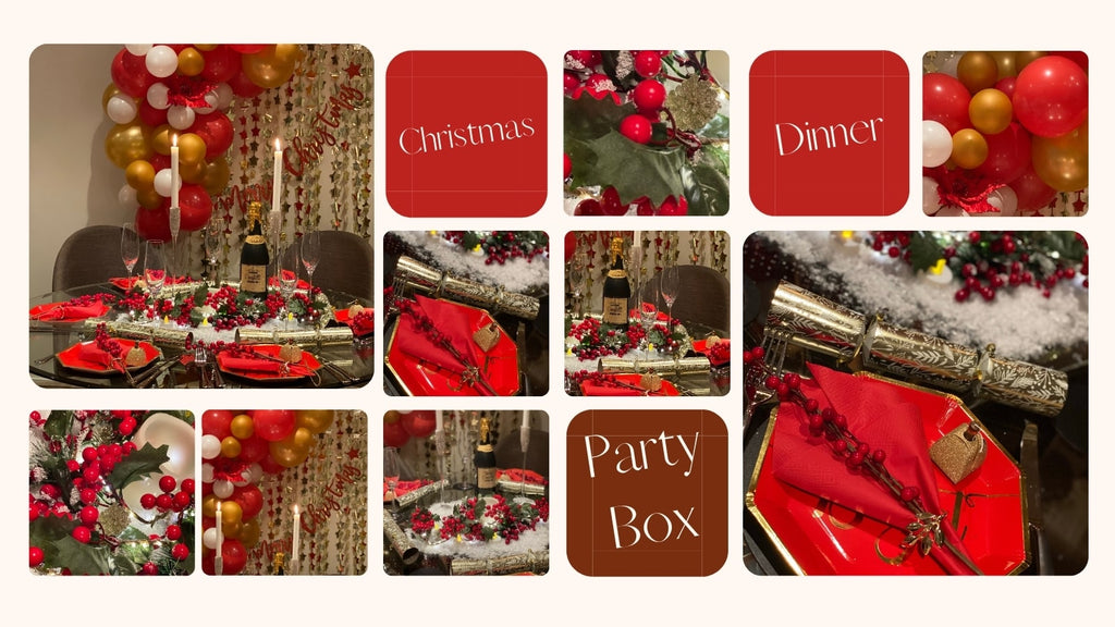 Christmas Dinner Party Box includes themed plates, cups and cutlery, Christmas balloons, balloon garland kit and tools, candles, faux snow, red berry flowers, napkins, napkin rings.
