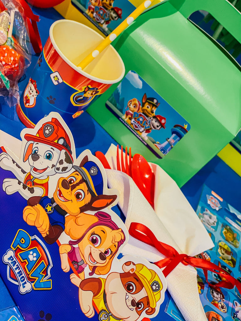 Paw Patrol themed party decoration box for children's birthday celebration. Paw patrol party suppliers, tableware, cups and plates, paw patrol party bags and boxes.