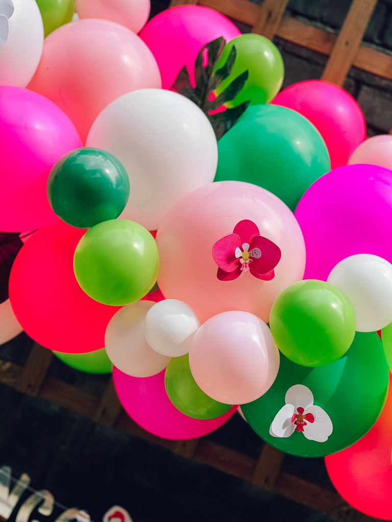 Flamingo party balloon decorations and supplies, giant foil flamingo balloon, with pink beach ball and tropical colour balloon garland kit,