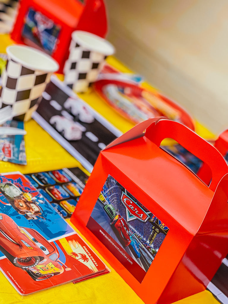Disney Cars themed kids birthday party pre-filled party bags.