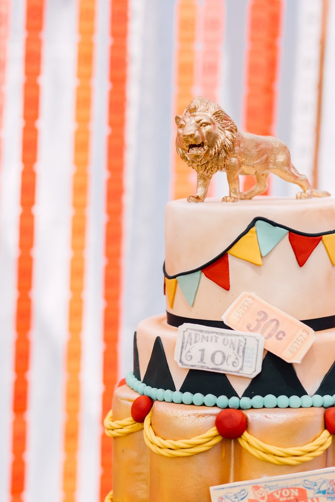 Circus carnival themed kids birthday cake for circus themed parties and private celebrations. Circus themed dessert table decor ideas.