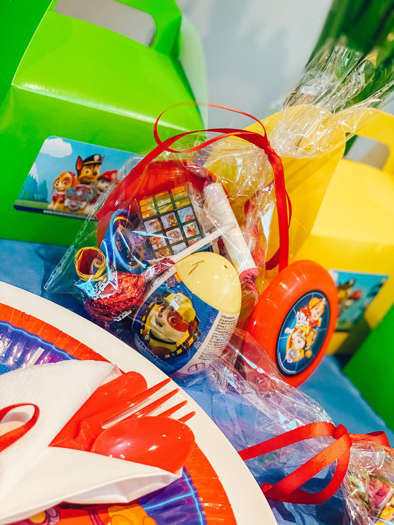 Paw Patrol party bag fillers and favours for pre-filled frozen party bag toys, sweets, stationary set, pencils, puzzle book, activity book, colouring book, pinball game, rubic cube, favours and fillers.