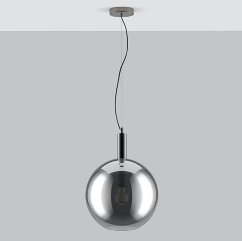Mabel Home and Lighting - Beautifully designed contemporary lighting. Montpelier ceiling light is an iconic mid century design ceiling light, with a statement smoke glass shade giving a warm glow. Featuring a metal tube detailing through the centre of the shade, making it the perfect pendant light.