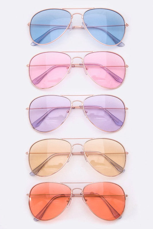 Her Aura Boutique Colorful Tint UV Protection Iconic Aviator Shades