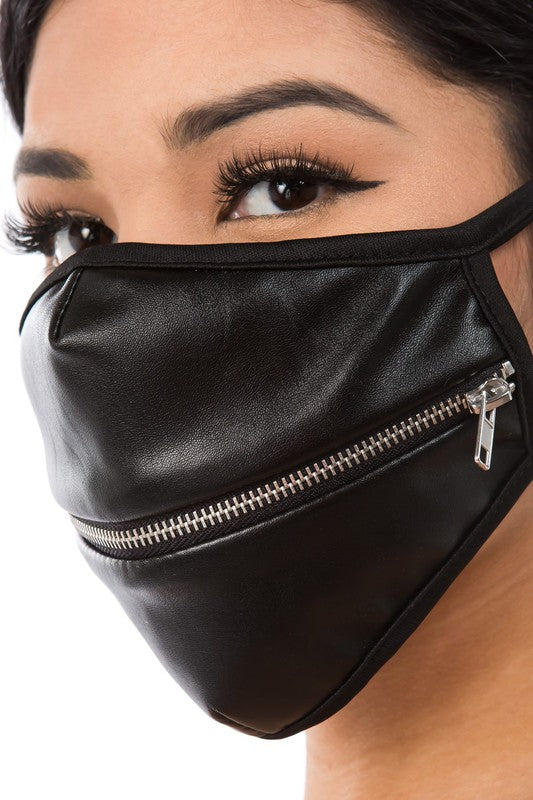 Her Aura Boutique PU Leather Zipped Protection Breathable Face Mask