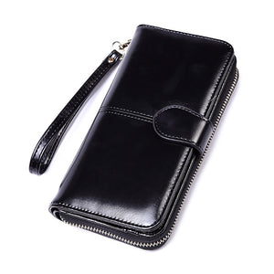 2020 New Women Oil Wax Leather Wallet Female Purses Big Capacity Hasp Zipper Purse Ladies Long Wristlet Clutch Coin Card Holders