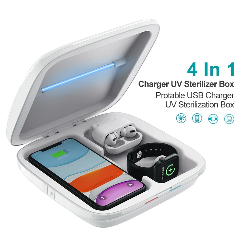 Multifunctional UV Sterilizer Box Mobile Phone Protable USB Charger UV Sterilization 4 In 1 Sterilization Box For Watch Jewelry