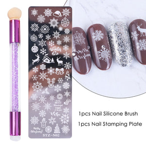 Nail Stamping Plates Set Silicone Sponge Brush Polish Transfer Stencils Flower Geometry DIY Template for Nail Tool CHSTZN01-12-3