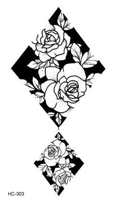 1 PC Geometric Planet Fashion Women Temporary Tattoo Sticker Black Roses Design Flower Arm Body Art Large Fake Tattoo Sticker