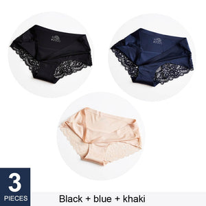 3 pcs/lot Sexy Lace Panties Seamless Women Underwear Briefs Nylon Silk for Ladies Transparent Lingerie XXL 836