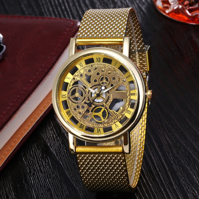 Fashion Hollow Watch Luxury Silver & Golden Steel Watches  Men Women Unisex Hombre Quartz Wrist Watch Clock Retro Relogio