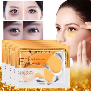 2Pcs=1Pair 24K Gold Crystal Collagen Eye Mask Eye Patches For Eye Care Dark Circles Remove Anti-Aging Wrinkle Skin Care TSLM2