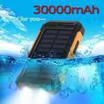 Load image into Gallery viewer, 30000 mAh Waterproof Solar Power Bank Dual USB with SOS LED Charger Travel Powerbank for All Phone of All Over The World