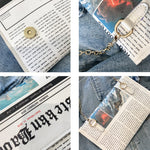 Load image into Gallery viewer, Oswego Envelope Bag Women 2020 New Personality Inkjet Newspaper Clutch Bags Joker Shoulder Messenger Bag Chain Evening Bags