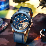 Load image into Gallery viewer, CRRJU Mens Watches Top Luxury Brand Business Wrist Watch men Chronograph Sport Military Date Leather Quartz Relogio Masculino