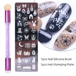 Load image into Gallery viewer, Nail Stamping Plates Set Silicone Sponge Brush Polish Transfer Stencils Flower Geometry DIY Template for Nail Tool CHSTZN01-12-3