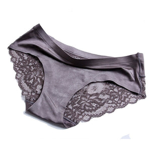 Sexy Women Lace side Underwear Seamless Breathable Briefs Nylon for Girls Ladies Cotton Crotch Solid Color Lingerie