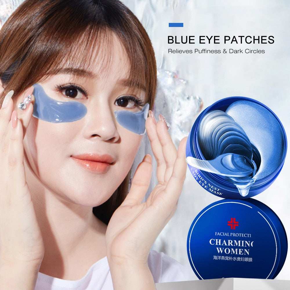 60pcs Blue Crystal Collagen Eye Mask Anti-Aging Anti-Puffiness Eye Patches Remove Dark Circle Crystal Beauty Skin Care