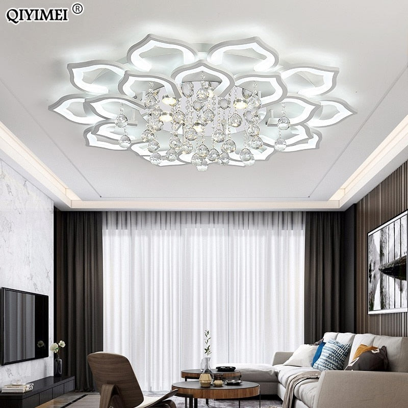 White Acrylic Modern Chandelier Lights For Living Room Bedroom remote control Led indoor Lamp Home dimmable Lighting Fixtures de