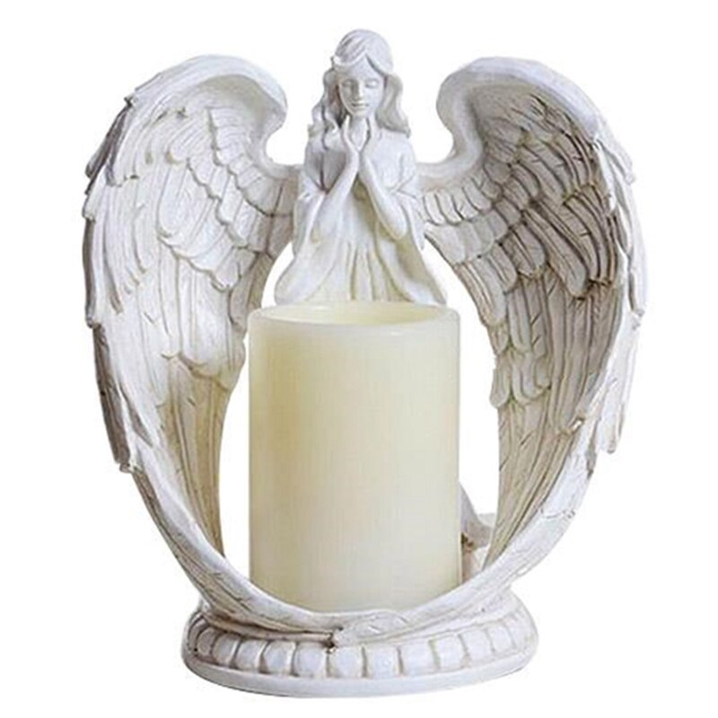 Creative Resin Angel Figurines Electronic Candlestick Crafts Home Decor Angel Miniature Candle Holder Ornaments Wedding Gifts
