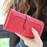 Load image into Gallery viewer, Many Departments Faux Suede Long Wallet Women Matte Leather Lady Purse High Quality Female Wallets Card Holder Clutch Carteras
