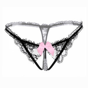 Women Sexy Lingerie hot erotic open crotch Panties Porn transparent underwear crotchless sex wear G-string thong with pearl Q001