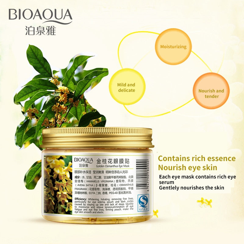 BIOAQUA Gold Osmanthus Eye Mask 80 Pcs/ Bottle Eye care Collagen gel Whey Protein Sleep Patche Remover dark Circles Eye Bag