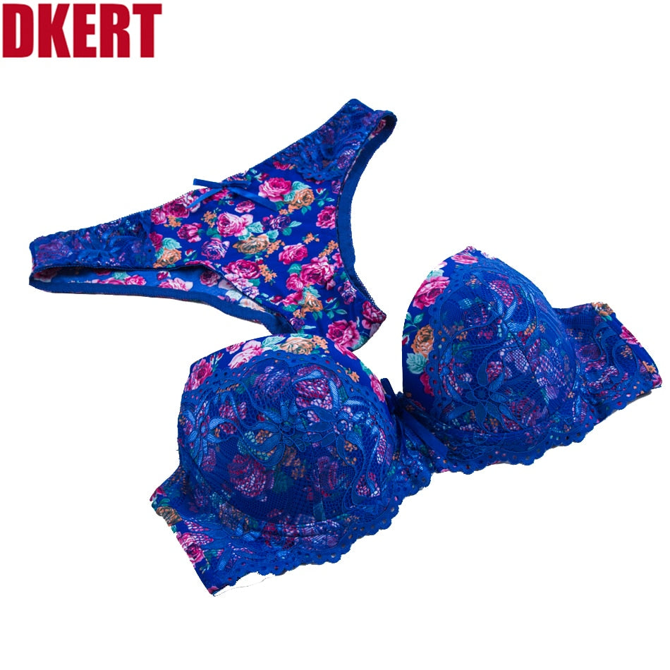 Sexy Lace Print Bra Brief Sets Push up Women's Underwear Set Bra Set ABC Lingerie Embroidery Floral Intimates Brassieres