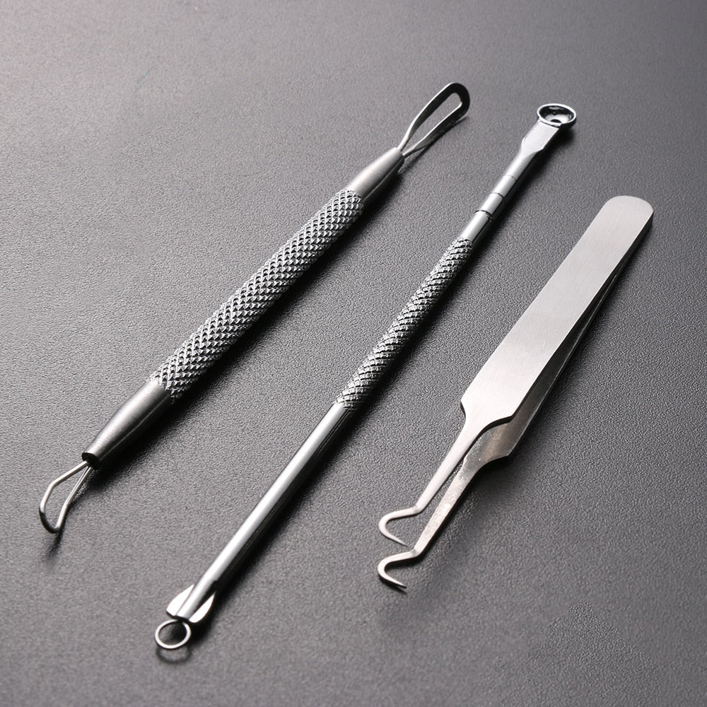 Hot Sale 1 Set Stainless Steel Extractor Blackhead Remover Needles Acne Pimple Blemish Treatments Face Skin Care Beauty Tools