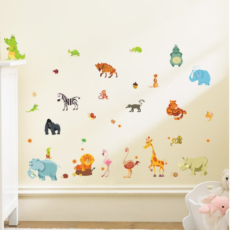 Funny Happy Zoo Cute Dinosaur Zebra Giraffe Snake Wall Stickers For Kids Rooms Baby Home Decor Cartoon Animals Decals Diy Mural