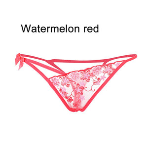 1PC Lady Erotic Lingerie Sexy Lace Flowers Panties Low Waist G-string Transparent T-back Briefs Women Charming Thongs Underwear