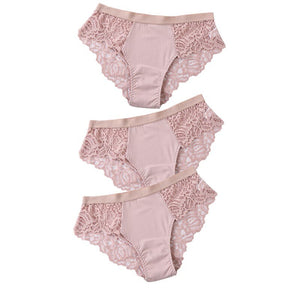 3 Pcs Cotton Panties Sexy Panty Briefs Lace Panties Women Underwear Lingerie Panties for Female Ladies Floral Pantys Underpants