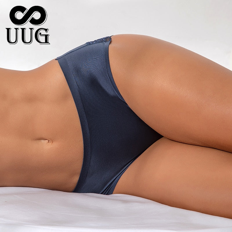 UUG Sexy Women Lace side Underwear Seamless Breathable Hollow Briefs Solid Color Woman Nylon Low Rise Lingerie Sexy Underwear